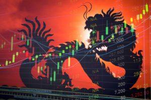 Dragon graphic overlaid stock chart